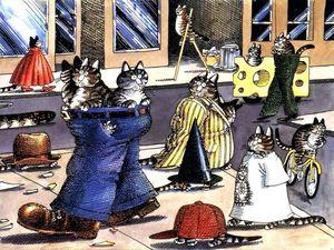 логическеи игры, пазлы, пазлы город кошек