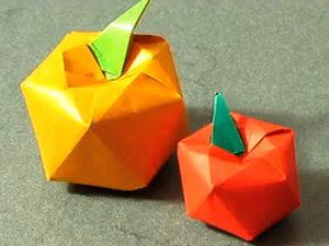 Оригами яблоко своими руками, поделки из бумаги, как складывать оригами, как делать оригами, фрукты из бумаги
