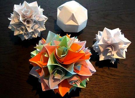 Оригами кусудама. Украшение на елку - Икосододекаэдр (тридцатидвухгранник) из бумаги. Кусудама своими руками, как сделать кусудаму,  учимся делать оригами, как складывать оригами, модульное оригами