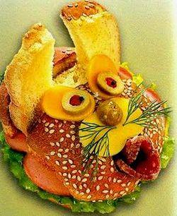Веселый Бутерброд Кролик-Зайчик, бутерброды животные, как украсить стол, смешные бутерброды, бутерброды зверята, как сделать забавный бутерброд, как сделать прикольный бутерброд, учимся готовить