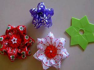 Украшение подарка. Цветок из ленты. Как сделать цветок из ленты, как делать цветы из лент, как украсить подарок, Новый Год 2011