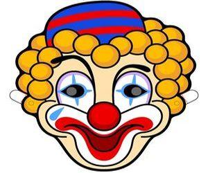 Карнавальная маска клоуна своими руками, как сделать маску клоуна, выкройка маски клоуна из бумаги, паперкрафт, маски для праздника из бумаги, paper craft