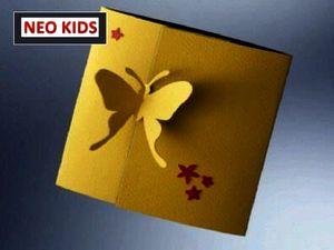 Киригами. Открытка Бабочка. Как сделать открытку к празднику, открытки своими руками, поделки из бумаги, идеи подарков на Новый Год, объемная открытка из бумаги, как вырезать из бумаги, из цветной бумаги, схемы киригами
