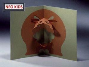 Киригами. Открытка Бегемот. Как сделать открытку к празднику, открытки своими руками, поделки из бумаги, идеи подарков на Новый Год, объемная открытка из бумаги, как вырезать из бумаги, из цветной бумаги, схемы киригами