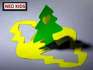 Киригами. Открытка Елочка. Как сделать открытку к празднику, открытки своими руками, поделки из бумаги, идеи подарков на Новый Год, объемная открытка из бумаги, как вырезать из бумаги, из цветной бумаги, схемы киригами