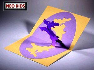 Киригами. Открытка с Рождественскими оленями. Как сделать открытку к празднику, открытки своими руками, поделки из бумаги, идеи подарков на Новый Год, объемная открытка из бумаги, как вырезать из бумаги, из цветной бумаги, схемы киригами