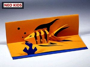 Киригами. Открытка Рыбка. Как сделать открытку к празднику, открытки своими руками, поделки из бумаги, идеи подарков на Новый Год, объемная открытка из бумаги, как вырезать из бумаги, из цветной бумаги, схемы киригами