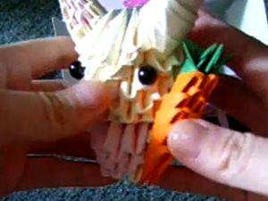 Origami Кролик с морковкой, модульное оригами заяц,  модульное оригами кролик, 3D Оригами, объемный заяц оригами, объёмное оригами, кролик из бумаги, кролик оригами