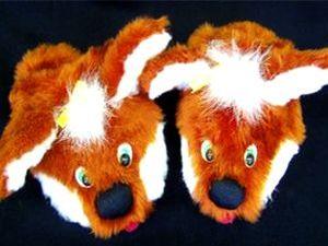 тапочки лисички своими руками, как сшить тапочки, тапочки игрушки, учимся шить, шьем сами, мягкая игрушка своими руками