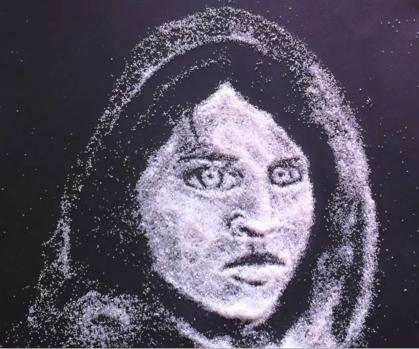 картины из соли, как рисовать солью, рисунки солью