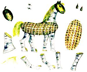Лошадь - символ 2014, лошадка из кукурузы